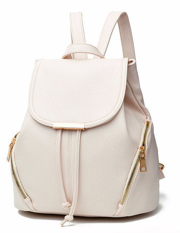 YINGPEI VEGAN LEATHER BACKPACK CLASSIC SHAPE RED WHITE BLACK PINK ZIPPERS