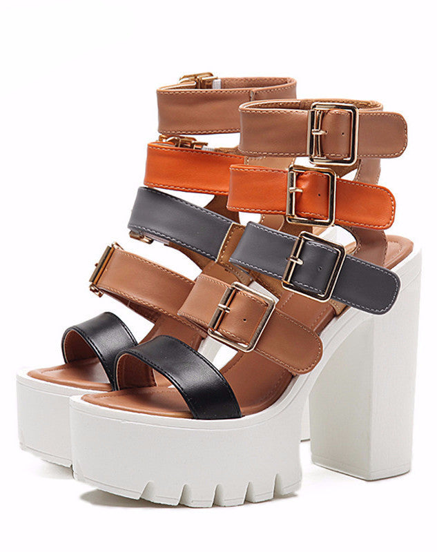 GLADIATORI SANDALID KÄSIRAAMATRAADID PLATFORMS SQUARE HEEL VEGAN LEATHER SUMMER 2017 - impaviid