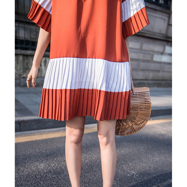 CHEERART SUMMER PATCHWORK PLEATED CASUAL DRESS FLARE SLEEVES LOOVE V NECK KOREAN STYLE