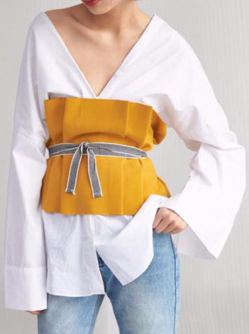 YELLOW BLACK FOLDED CORSET / BELT BANDAGE WRAP TOP JAPANESE STYLE
