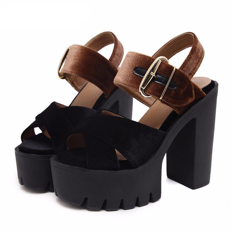 VEGAN LEATHER VELVET SANDALS ON PLATFORMS 2 COLORS - impissid
