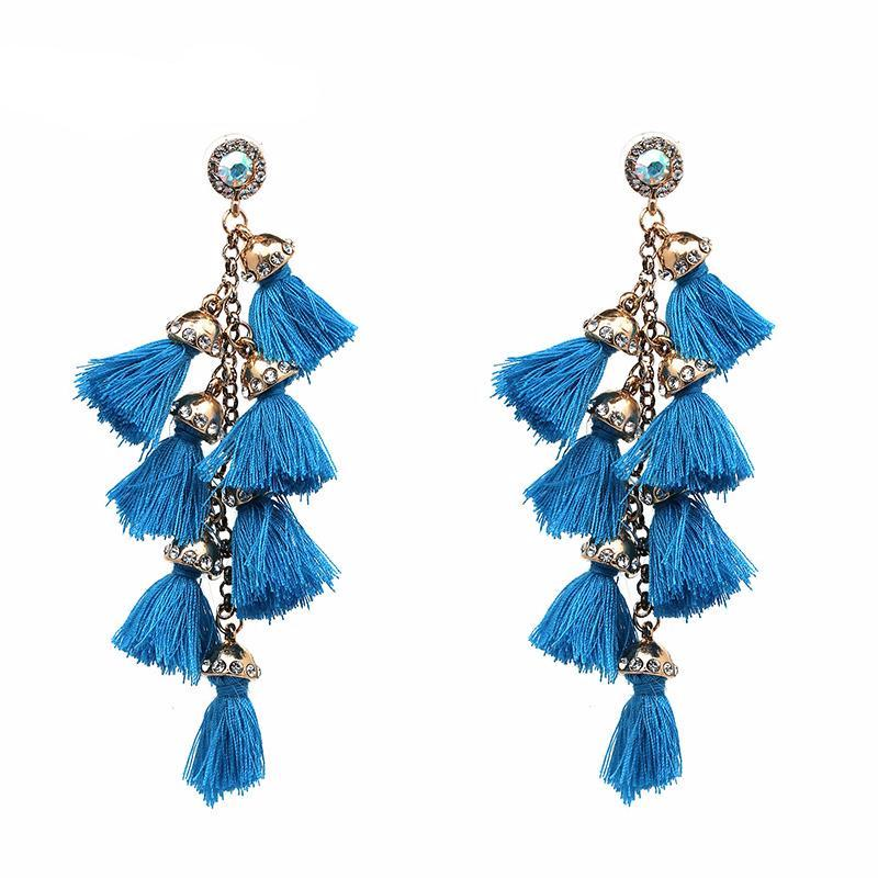 LONG TASSEL EARRINGS 12 COLORS - impaviid