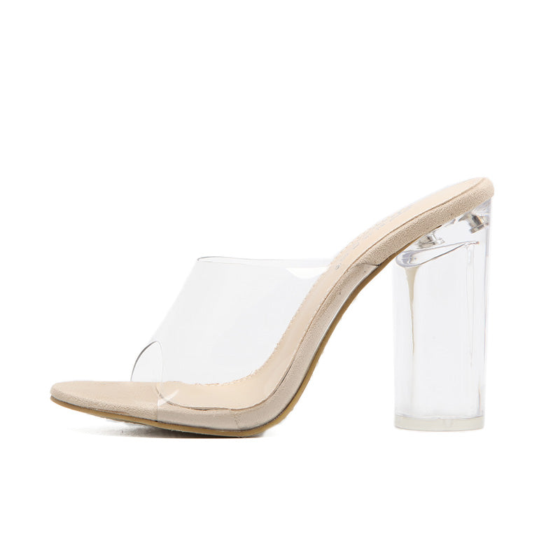 TRANSPARENT CLEAR PCV MULES ON HIGH SQUARE HEEL - impaviid