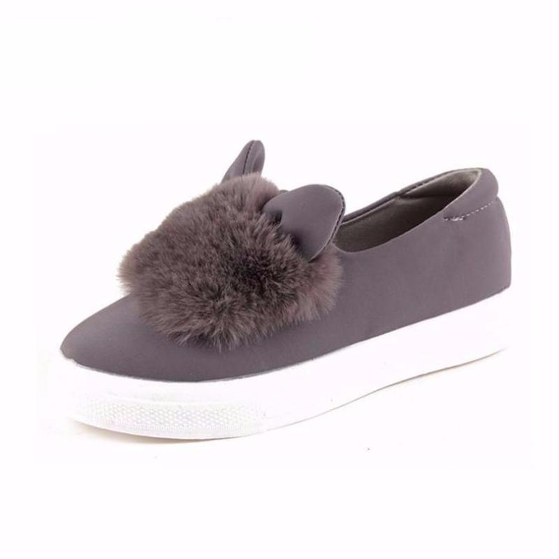 FAUX FUR SLIP ON  FLATS 6 COLORS - impaviid