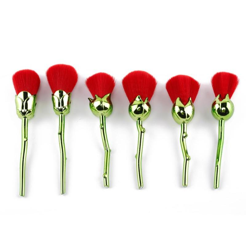 6PCS ROSE MAKEUP BRUSHES