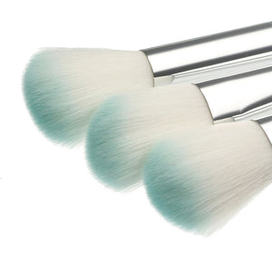 10PCS SILVER & BLUE MAKEUP BRUSHES SET - IMPAVIID