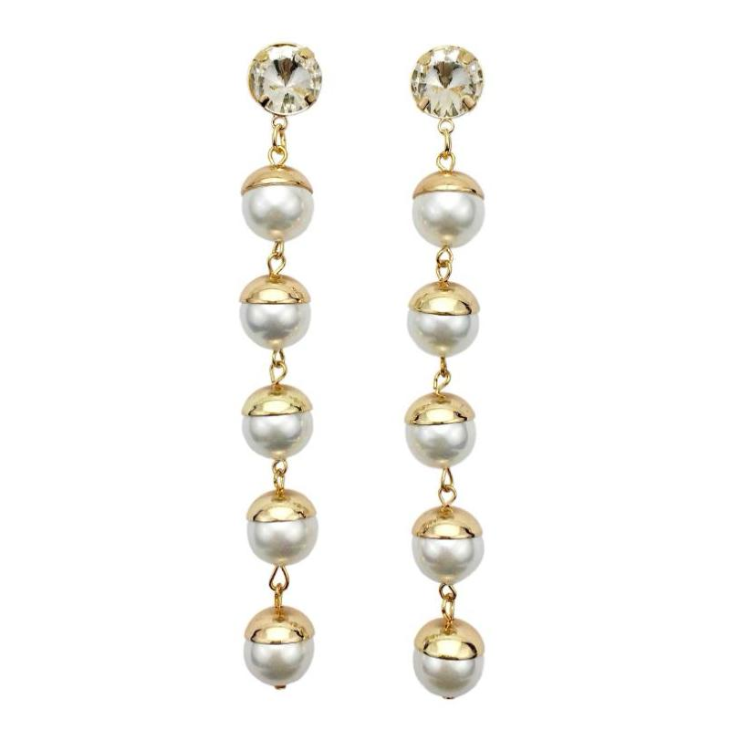 FAUX PEARL LONG DROP EARRINGS - impaviid