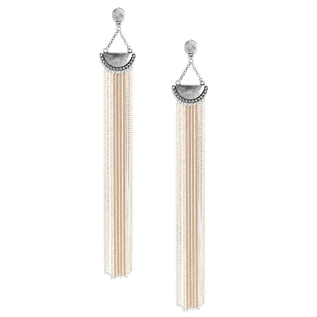 LONG TASSEL VINTAGE DROP EARRINGS - impaviid