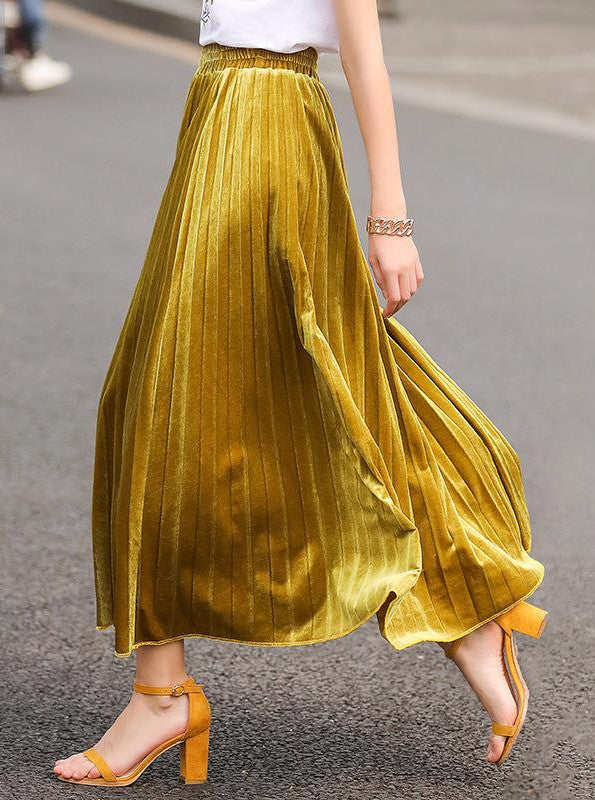MAXI / ANKLE LENGTH FAUX VELVET PLEATED SKIRT YELLOW/BLACK/GRAY AUTUMN 2017 SIZE: ONE SIZE + S - L - impaviid