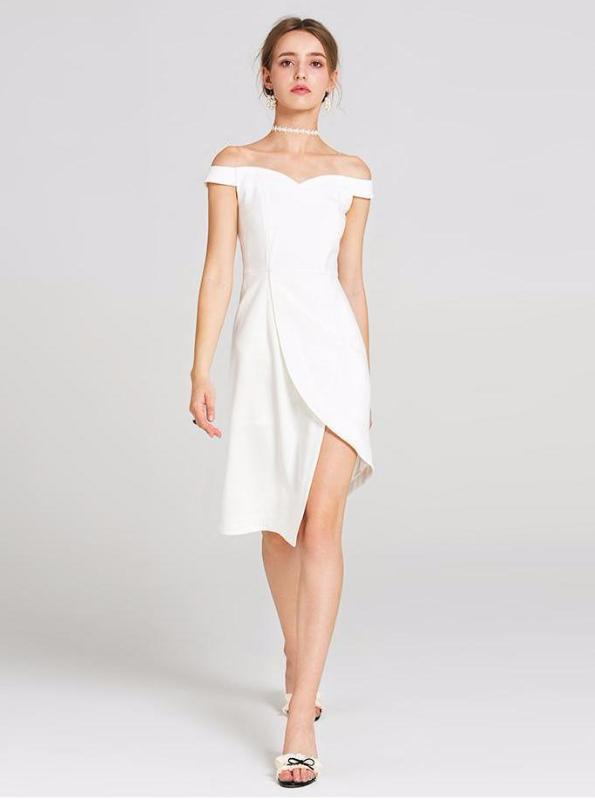77e2803e3ab3 WHITE OFF SHOULDER ASYMMETRICAL DRESS SIZE: S - L – impaviid