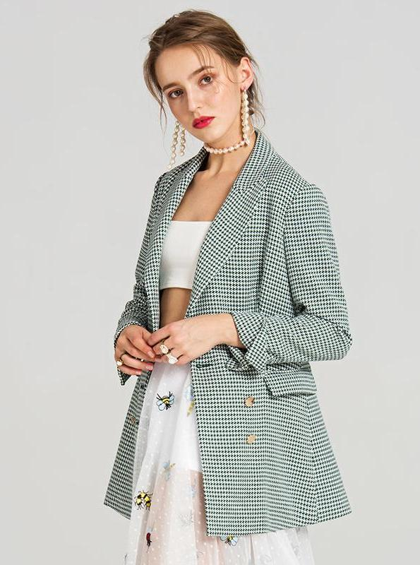 GREEN PLAID DOUBLE BREASTES BLAZER SIZE: S - L - impaviid