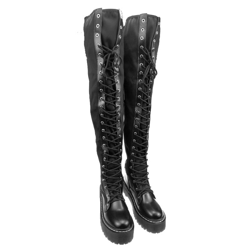 LACED UP OVER THE KNEE MOTOCYCLE BOOTS CRUELTY-FREE - impaviid