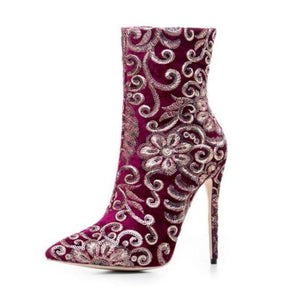 EMBROIDERED SEQUINED ANKLE BOOTS CRUELTY-FREE - impaviid