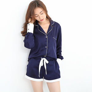 SATIN BLUE PAJAMAS LONG SLEEVES & SHORTS SIZE: XS - M - impisido