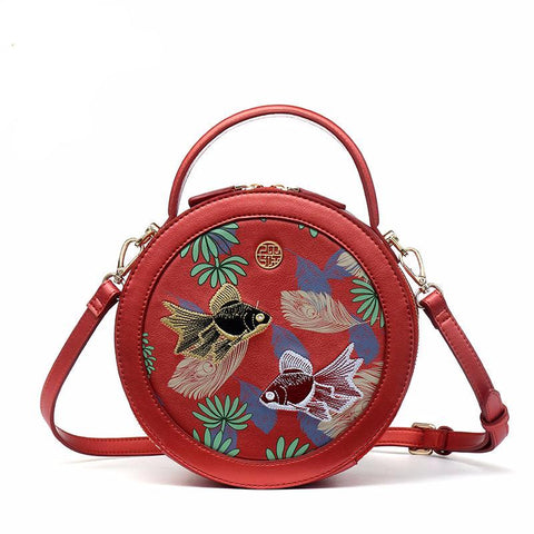 CIRCULAR CROSSBODY BAG RED CHINESE EMBROIDERY KOI FISH CRUELTY-FREE LEATHER