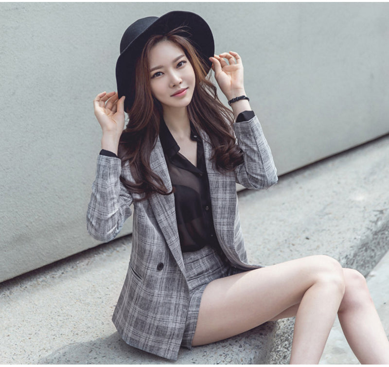 PLAID 2 PIECE SUIT WITH SHORTS - impaviid