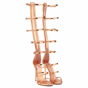 STILLETOO HEELS GLADIATOR SANDALS METALLIC 3 COLORS CRUELTY-FREE SPRING/SUMMER 2018 - impaviid