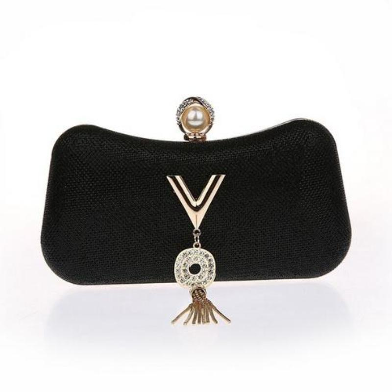 SMALL METALLIC CLUTCH WITH TASSEL MULTIPLE COLORS