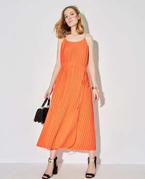 PLEATED CHIFFON SPAGHETTI STRAP MAXI DRESS - impaviid
