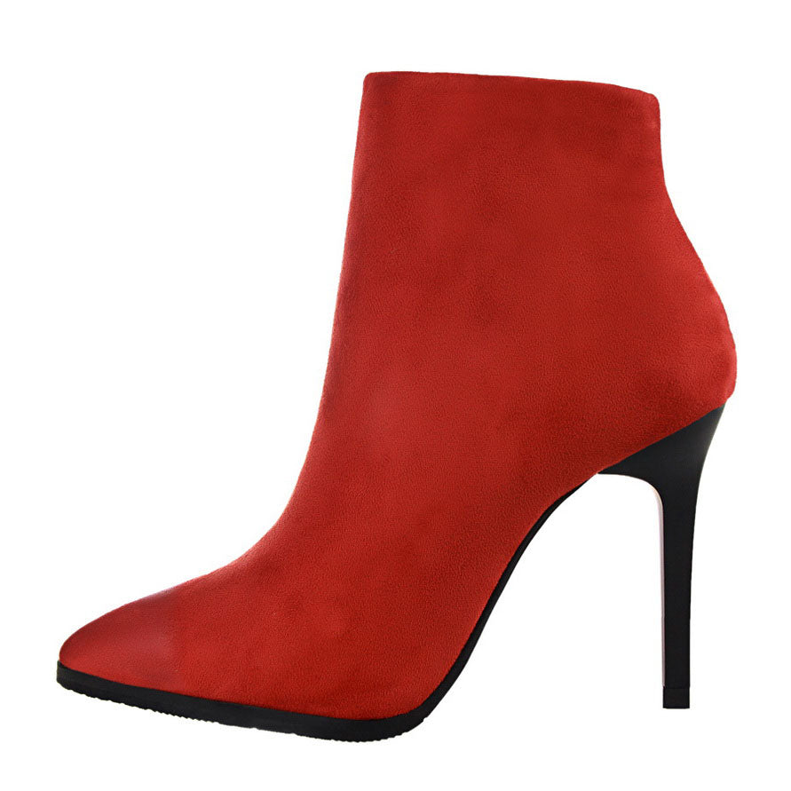 FAUX SUEDE / FLOCK ANKLE BOOTS ON THIN HIGH HEEL CRUELTY-FREE - impaviid