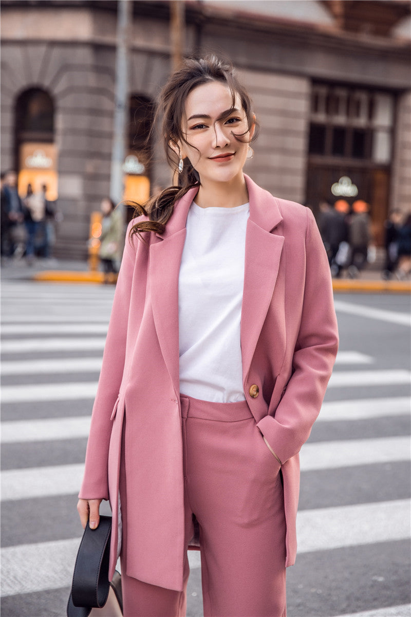 2 PIECE PINK SUIT WITH CROPPED PANTS - IMPAVIID