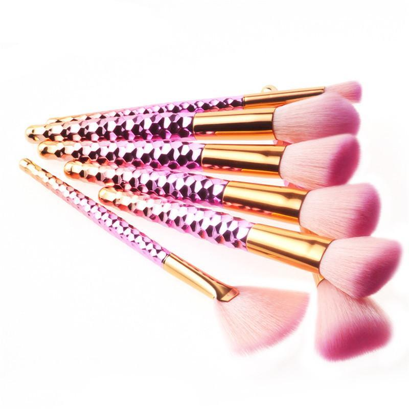7 PCS GRADIENT GOLD - PINK MAKEUP BRUSHES
