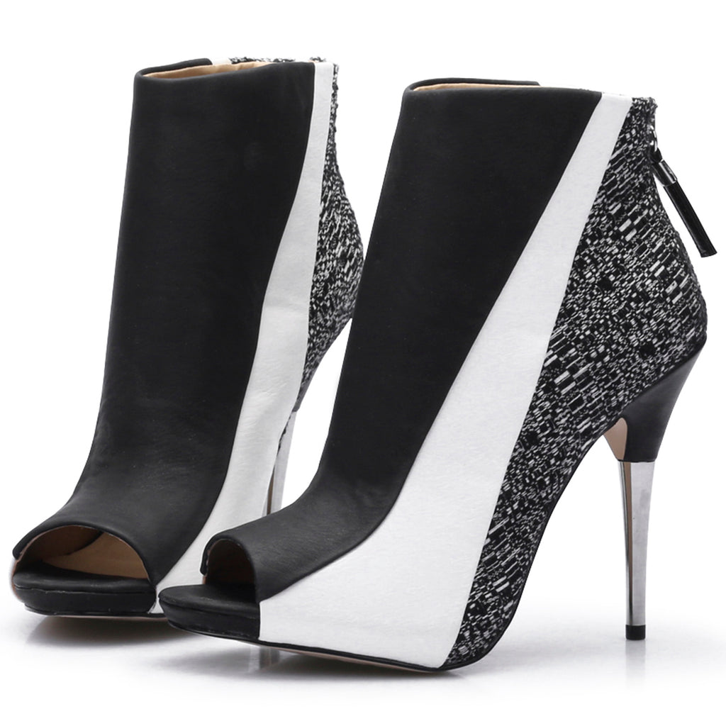 PEEP TOE ELEGANT BLACK AND WHITE ANKLE BOOTS VEGAN LEATHER - impraid