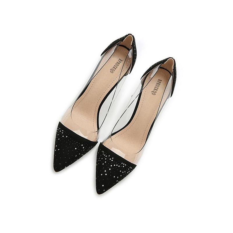 TRANSPARENT BLACK RHINESTONES HEELS VEGAN LEATHER - impaviid