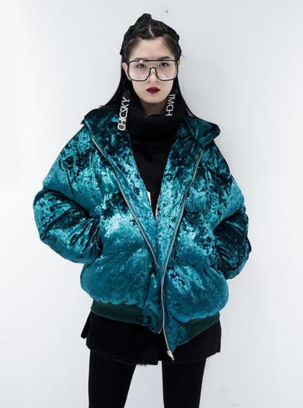 PUFFY PADDED VELVET JACKET 3 COLORS - impissid