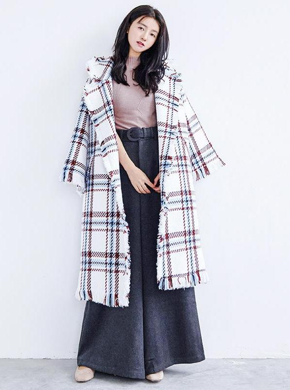 TURN DOWN COLLAR PLAID / TWEED OVERSIZED COAT KOREAN STYLE AUTUMN/WINTER 2017 ONE SIZE 3 COLORS - impaviid