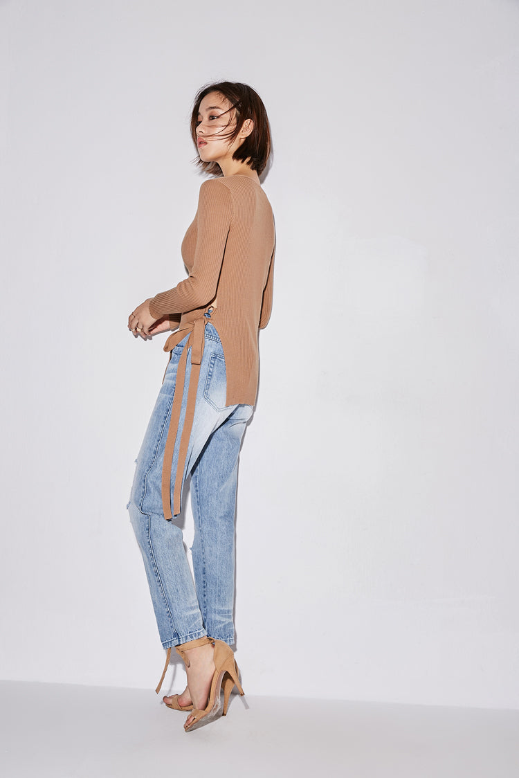 MINIMALISM SIDE LACED UP SWEATER 3 COLORS - impaviid