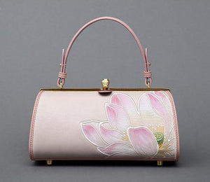 EMBROIDERED LOTOUS FLOWER PINK HANDBAG CRUELTY-FREE - impaviid