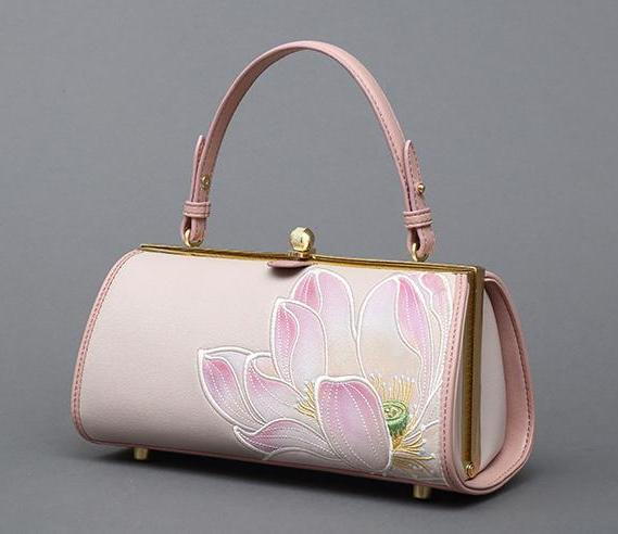 EMBROIDERED LOTOUS FLOWER PINK HANDBAG CRUELTY-FREE