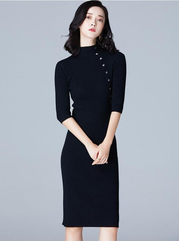 SLIM SHEATH AUTUMN KNITTED DRESS 4 COLORS - impaviid