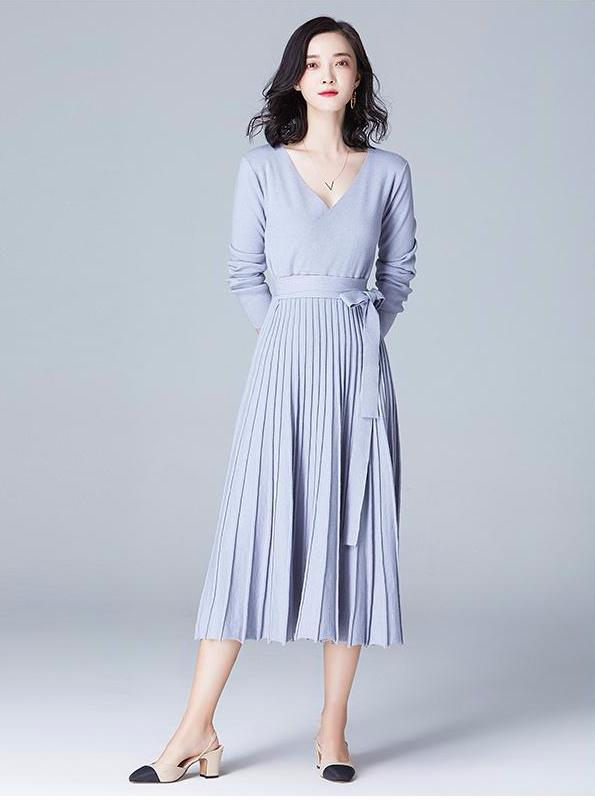 LONG SLEEVE KNITTED PLEATED DRESS 4 COLORS - impaviid