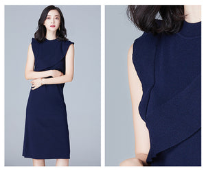 KNITTED SLEEVELESS DRESS WITH RUFFLES 4 COLORS - impaviid