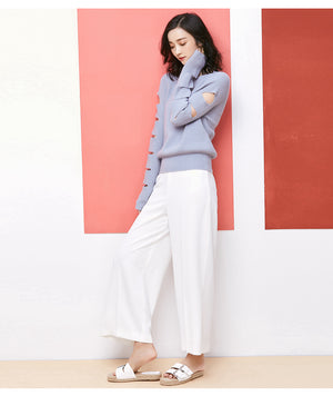CASUAL SWEATER WITH RIPPED SLEEVES 5 COLORS - IMPAVIID