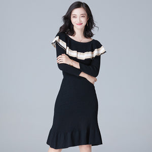 KNITTED SHEATH DRESS OFF SHOULDERS 2 COLORS - impaviid