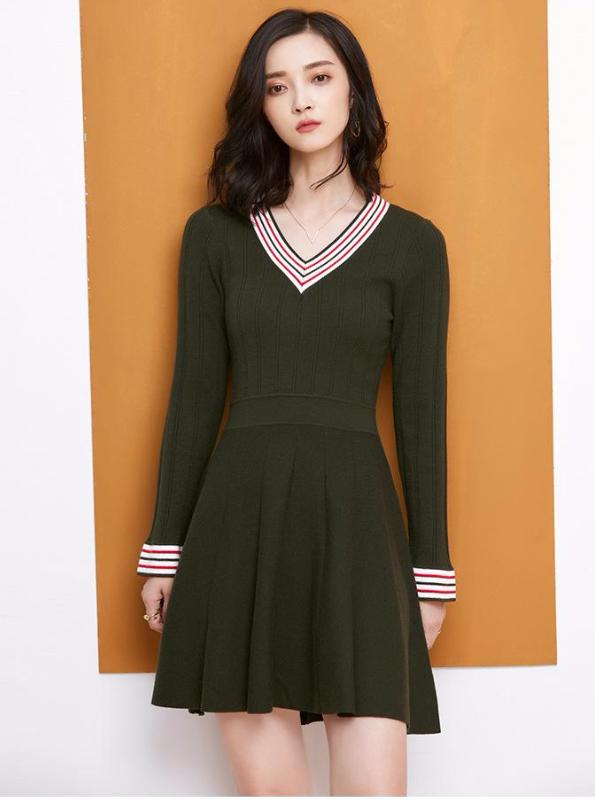 LONG SLEEVE KNITTE SKATER DRESS 3 COLORS - impaviid