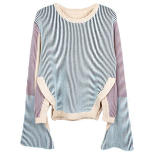 FLARE SLEEVE COLOR BLOCK SWEATER - impaviid