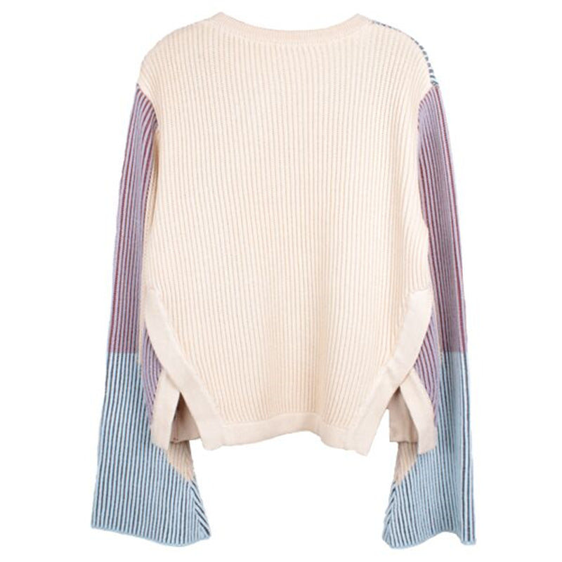 FLARE SLEEVE COLOR BLOCK SWEATER - impaviidi