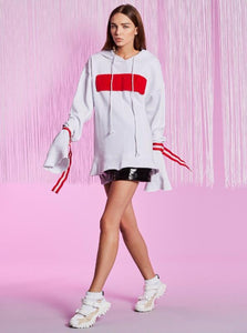WHITE HOODIE HARAJUKU STYLE MED LACED UP SLEEVES - impaviid