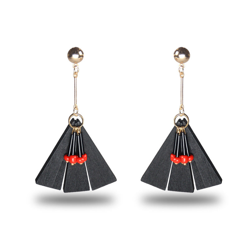 WOODEN TASSEL DROP EARRINGS - impaviid