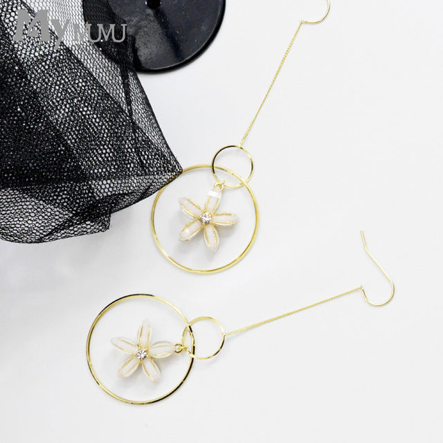 LONG FLORAL DROP EARRINGS JAPANESE STYLE - impaviid