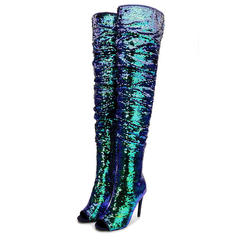 UNIQUE SEQUINED PEEP TOE OVER THE KNEE BOOTS - impaviid