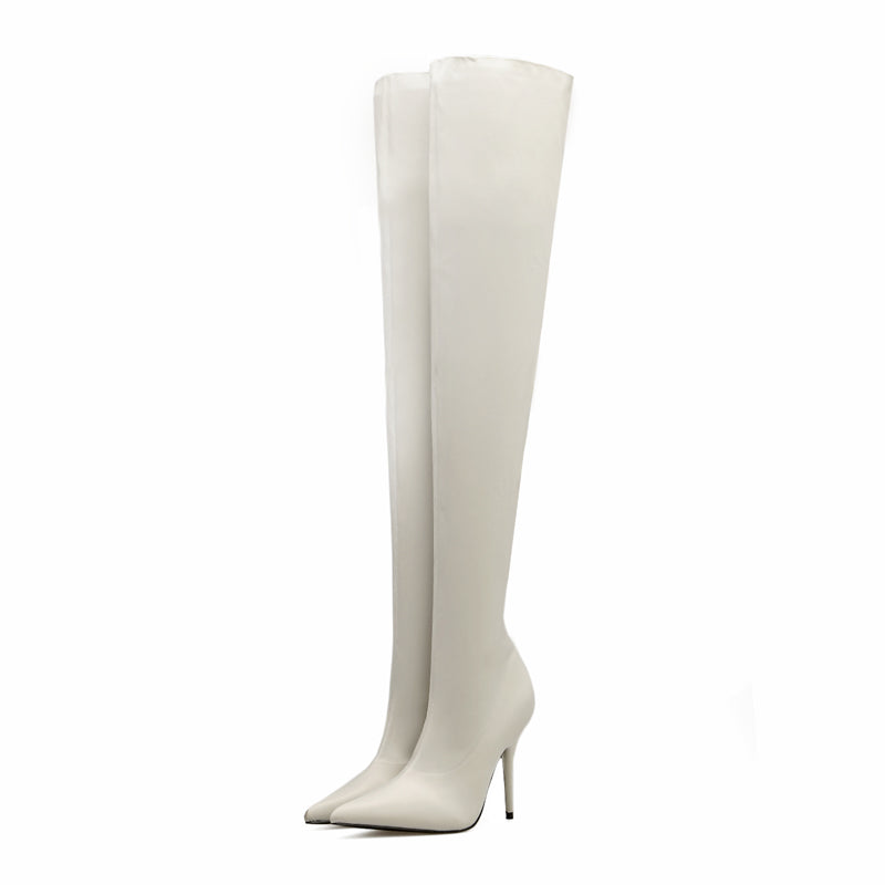 ELASTIC OVER THE KNEE SLIP ON THIN HEEL BOOTS - impaviid