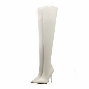 ELASTIC OVER THE KNEE SLIP ON THIN HEEL BOOTS - impraid