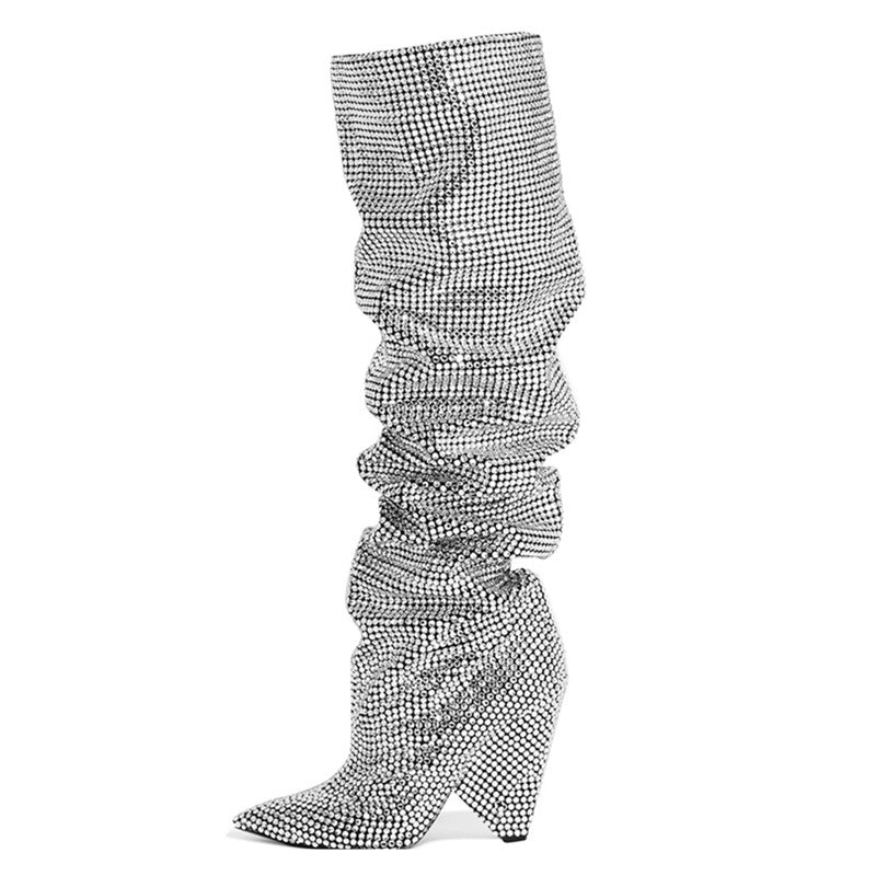 SPARKLY CHELSEA BOOTS SILVER CRYSTALS CRUELTY-FREE - impaviid