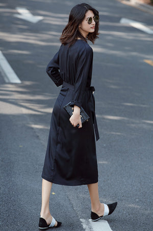 V NECK LONG SLEEVE BELT MID-CALF DRESS - impaviid