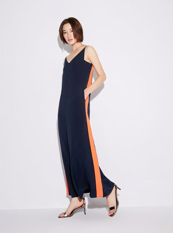 CASUAL PATCHWORK SPAGHETTI STRAP ANKLE LONG DRESS - IMPAVIID